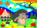 Раскраска по номерам на холсте на деревянной рамке 15*20см Ёжик осенью DD00001 /День детства