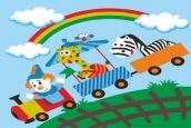 Раскраска по номерам на холсте на деревянной рамке 20*30см Веселый паровозик DD00002 /День детства