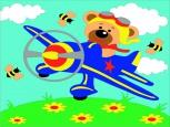 Раскраска по номерам на холсте на деревянной рамке 15*20см Мишка в самолете DD00004 /День детства