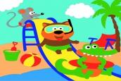 Раскраска по номерам на холсте на деревянной рамке 20*30см Аквапарк на пляже DD00005 /День детства