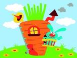Раскраска по номерам на холсте на деревянной рамке 15*20см Дом кролика DD00006 /День детства