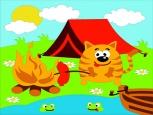 Раскраска по номерам на холсте на деревянной рамке 15*20см Котик на пикнике DD00009 /День детства