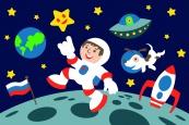 Раскраска по номерам на холсте на деревянной рамке 20*30см Космонавт DD00010 /День детства