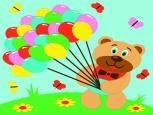 Раскраска по номерам на холсте на деревянной рамке 15*20см Мишка с шарами DD00018 /День детства