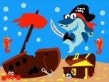 Раскраска по номерам на холсте на деревянной рамке 15*20см Морские пираты DD00020 /День детства