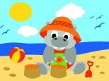 Раскраска по номерам на холсте на деревянной рамке 15*20см Бегемот на пляже DD00021 /День детства