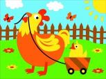Раскраска по номерам на холсте на деревянной рамке 15*20см Курочка на полянке DD00022 /День детства