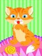 Раскраска по номерам на холсте на деревянной рамке 15*20см Рыжий котик DD00024 /День детства