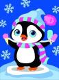Раскраска по номерам на холсте на деревянной рамке 15*20см Пингвинёнок DD00031 /День детства